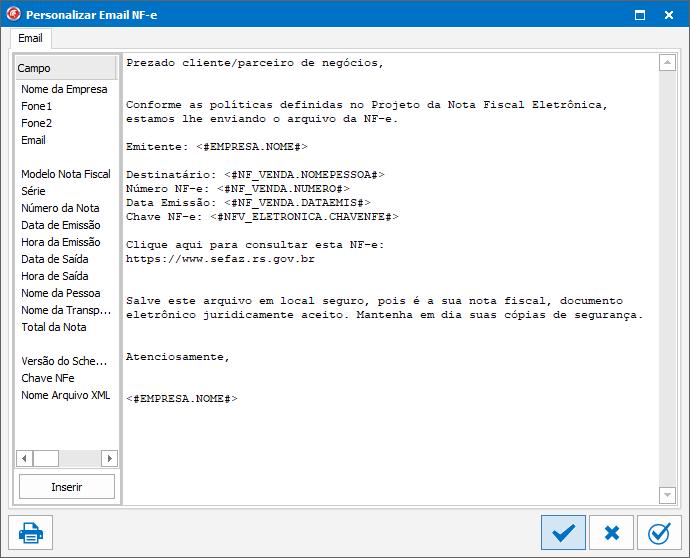 Sistema ERP: Como alterar o texto do e-mail da NF-e, NFS-e ou MDF-e